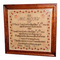 Victorian Memorial Woolwork Sampler Dated 1857
