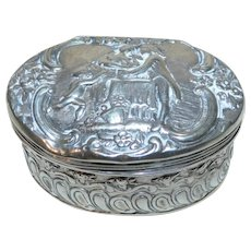 19th Century Dutch Silver Snuff Box with Figures