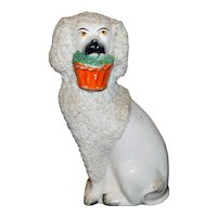 Mid-19th Century Victorian Staffordshire Poodle with Basket