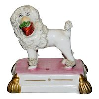 19th Century Victorian Staffordshire Poodle on Gold-Tasseled Base