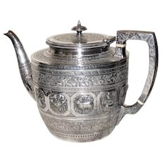 Rare Victorian 19th Century Silver Plate Teapot with the Signs of the Zodiac