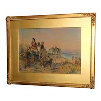 Romantic Victorian Watercolor by T.F. Marshall