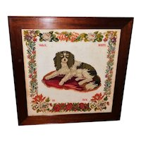 Large and Rare 19th Century Woolwork Portrait of a King Charles Spaniel on a Cushion Dated 1868