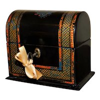 Mid-19th Century Victorian Papier Mache Scent Box with Original Key