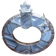 Victorian 19th Century Scottish Silver and Agate Brooch