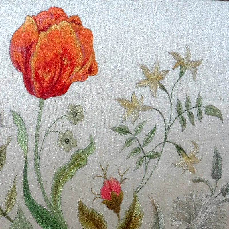 mixed bouquet of embroidered flowers tied with a bow  circa 1910 sold