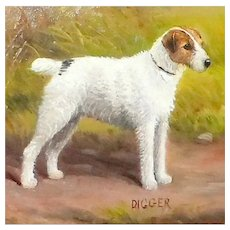 "Portrait of the Wire Fox Terrier Dog, ""Digger,"" by Henry Crowther"