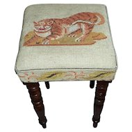 19th Century Early Victorian Stool with Woolwork Top