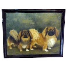 Large Portrait of Two Pekinese Dogs in a Landscape by Capt. R.A.V. Hamilton