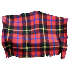 Vintage Tartan Plaid Throw with Fringing