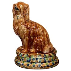 Large, Very Impressive and Extremely Rare Mid-19th Century Scottish Pottery Model of a Spaniel