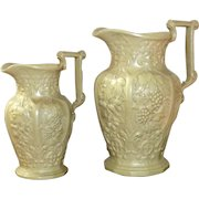 Graduated Pair of Ridgway Relief Molded Harvest Jugs Dated 1849