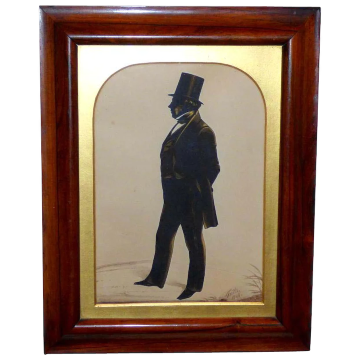 a24d4777 Large Victorian Hand-Cut Silhouette of a Gentleman by Frith, Dated 1848, in