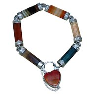 Victorian 19th Century Scottish Silver and Banded Agate Bracelet with Heart Locket