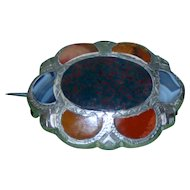 Victorian Silver and Agate Oval Brooch
