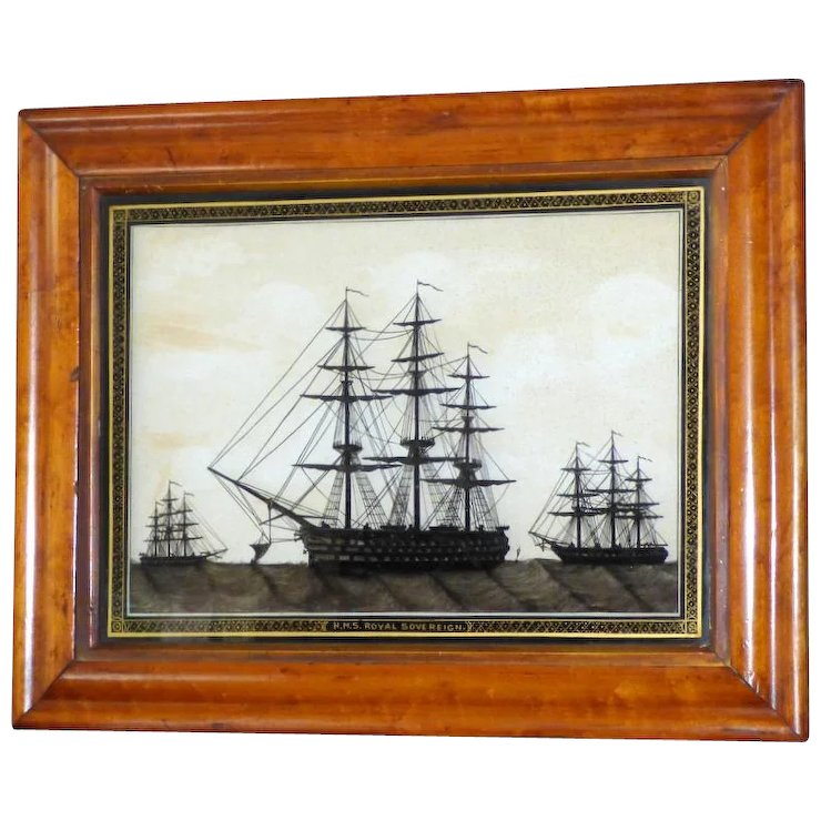 19th Century Reverse-Painted Silhouette on Glass of the Ship, HMS ...