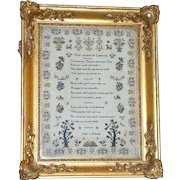 Early Victorian Verse and Motif Sampler in Ornate Original Gilded Frame