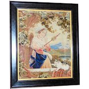Early Victorian 19th Century Pettipoint Embroidery with Girl and Her Kitten