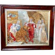 "Regency Early 19th Century Silkwork Depiction of ""The Five Eldest Children of Charles I,"" by Van Dyck"