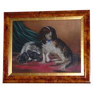 Antique French Pastel Portrait of Two King Charles Cavalier Spaniels, Dated 1896