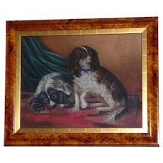 French Pastel Portrait of Two King Charles Cavalier Spaniels, Dated 1896