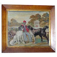 Rare Early  Very Large Victorian Woolwork with Dogs in a Formal Garden Setting