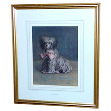 """Watercolor Portrait of the Dog, """"Raggs,"""" by Edith Teall - Red Tag Sale Item"""