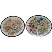 Pair of Victorian Mid-19th Century Oval Woolwork Floral Pictures