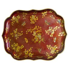 Large Early Victorian 19th Century Red Papier Mache Tray with Gilded Decorations - Red Tag Sale Item