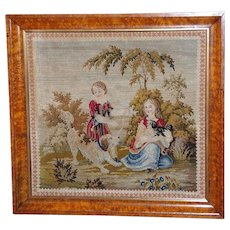 Victorian Woolwork and Pettipoint Scene with Children and Dogs