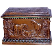 Late Victorian Tobacco Box with Horses in Relief