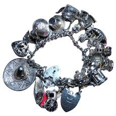 Vintage Silver Charm Bracelet with 17 Charms and Heart Padlock