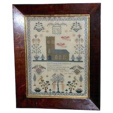 Early Victorian Sampler Worked in Silk with Church, Angels and Adam and Eve