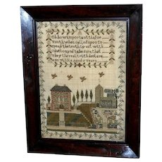Early Victorian Sampler Worked in Silk of Village Street and Verse