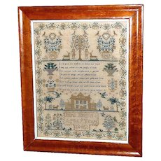 Early Victorian Sampler Worked in Silk with House, Adam and Eve and Flowering Jardinieres