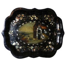 Early 19th Century Papier Mache Tray with Hunter and Hound and Inlaid with Mother-of-Pearl