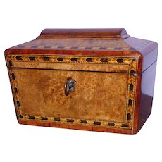Mid-19th Century Victorian Burr Walnut Tunbridge Ware Tea Caddy