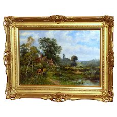 Cottage with Bee Hives in a Country Landscape, by O.T. Clark