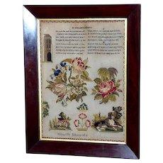 19th Century Victorian Silk on Linen Sampler