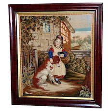 Victorian Mid-19th Century Woolwork of Child with Large Dog