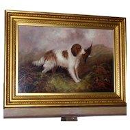 Antique Large Portrait of a Spaniel, by J. Langlois