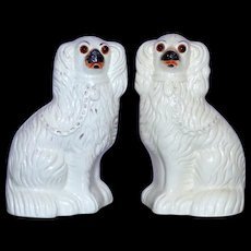 Pair of Victorian 19th Century Staffordshire Spaniels with Glass Eyes