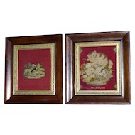 "Pair of Early Victorian 19th Century Berlin Woolwork Pictures, One Entitled ""Pet Kittens"""