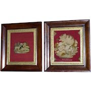 Pair of Early Victorian 19th Century Berlin Woolwork Pictures