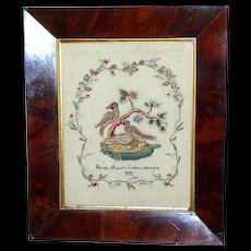 Early Victorian 19th Century Pictorial Sampler of Nesting Birds, Dated 1843