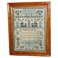 Regency Fine Silkwork Verse and Motif Sampler Dated 1832