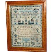 Regency Fine Silkwork Verse and Motif Sampler Dated 1832