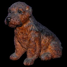 Edwardian Early 1900s Wood Carving of a Terrier