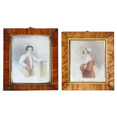 Pair of 19th Century Victorian Watercolors of a Couple - Red Tag Sale Item
