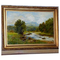 Antique Large Bucolic River Landscape with Cattle, by John Clayton Adams
